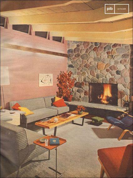 1953 Modernes Wohnzimmer mit Steinkamin - gescannt von Better Homes and Gardens.