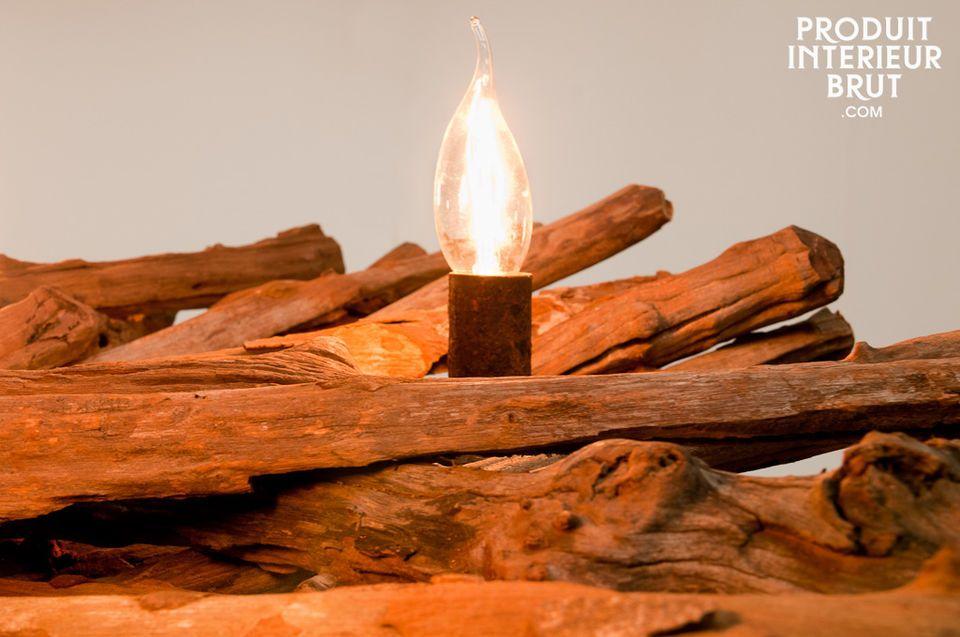 5-armiger Leuchter aus Naturholz