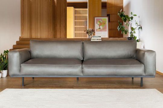 Mandel-3-Sitzer-Sofa in grauem Leder