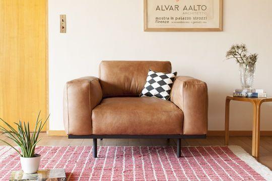 Mandel-Sessel aus braunem Leder