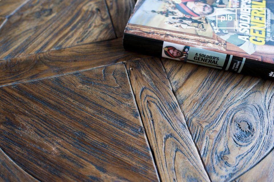 Verstellbare Tischplatte aus altem Teakholz