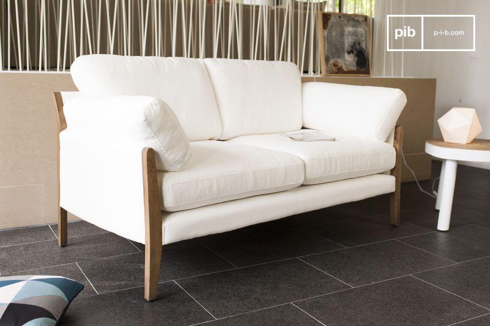 Das Gestell dieses Sofas besteht aus fein lackiertem massiven Eichenholz
